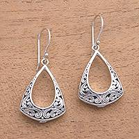 Sterling silver dangle earrings, 'Frame of Happiness' - Openwork Pattern Sterling Silver Dangle Earrings from Bali