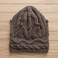 100% alpaca hat, 'Taupe Cable' - Hand-Knit Taupe 100% Alpaca Hat from Peru