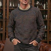 Men's 100% alpaca pullover, 'Warm Waves'
