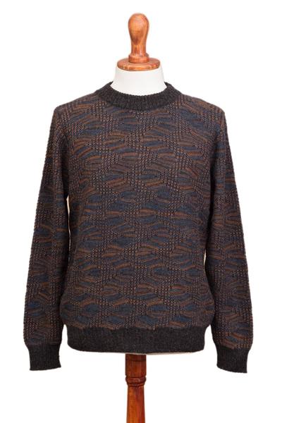Men's 100% alpaca pullover, 'Warm Waves' - Azure and Sunrise Men's 100% Alpaca Pullover from Peru
