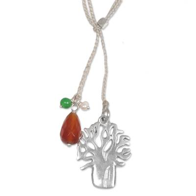 Multi-gemstone long pendant necklace, 'Colorful Banyan' - Handcrafted Cultured Pearl Carnelian Quartz Pendant Necklace