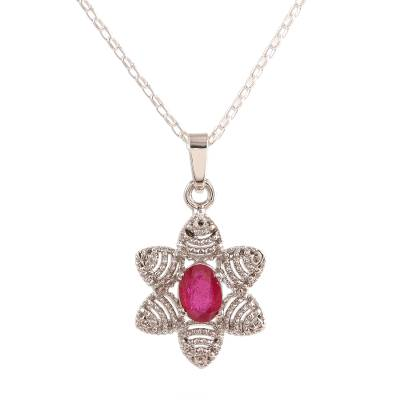 Ruby pendant necklace, 'Snow Flower' - Foral Faceted Ruby Pendant Necklace from India