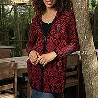 100% baby alpaca hoodie cardigan 'Regal'  - Red & Black Jacquard Baby Alpaca Hooded Cardigan Sweater