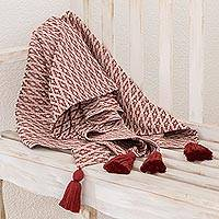 Cotton throw, 'Rhombus Fascination' - Rhombus Motif Cotton Throw in Chili and Eggshell