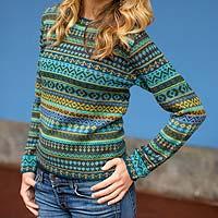 100% alpaca sweater, 'Andean Lakes'