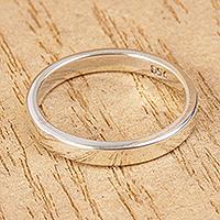 Unisex silver band ring, 'Polished'