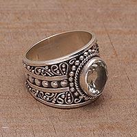 Prasiolite single stone ring, 'Celuk Majesty' - Prasiolite and Sterling Silver Single Stone Ring from Bali