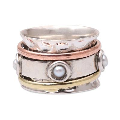 Cultured pearl spinner ring, 'Glowing Energy' - Cultured Pearl Spinner Ring from India