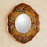 Reverse painted glass mirror, 'Ochre Hummingbirds'