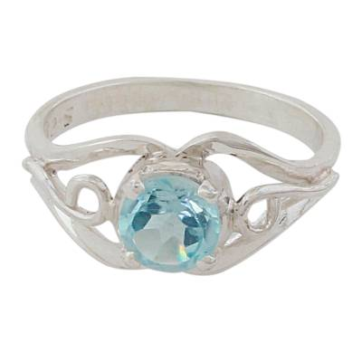 Blue topaz single stone ring, 'Blue Winds' - Artisan Crafted Blue Topaz Single Stone Ring from India