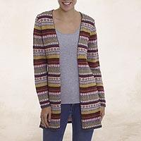 100% alpaca cardigan, 'Pattern Cornucopia' - Multi-Color Patterned Striped 100% Alpaca Knit Cardigan