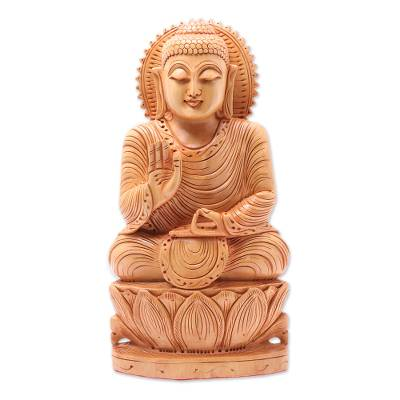 Wood sculpture, 'Peace from Buddha' - Wood sculpture
