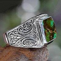 Sterling silver ring, 'Woodland Crown' - Unisex Sterling Silver and Reconstituted Turquoise Ring
