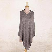 Wool poncho, 'Dark Taupe Warmth' - Indian Cashmere Wool Knitted Dark Taupe Poncho