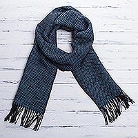 Men's 100% alpaca scarf, 'Lake Arapa Night'
