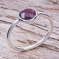 Garnet solitaire ring, 'Precious One'