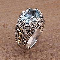 Gold accented blue topaz cocktail ring, 'Ornate Majesty' - Handmade Sterling Silver and Blue Topaz Single Stone RIng