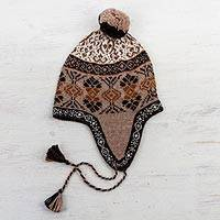 100% alpaca chullo hat, 'Andean Patterns' - 100% Alpaca Chullo Hat in Tan and Eggshell from Peru