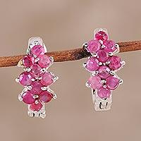 Ruby hoop earrings, 'Red Hyacinth'