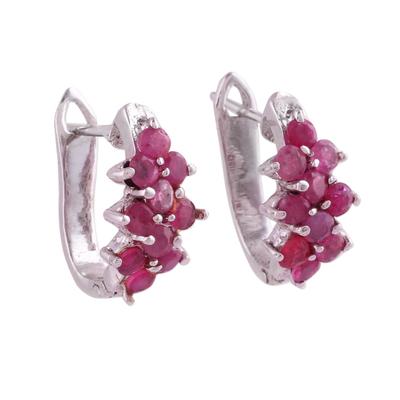 Ruby hoop earrings, 'Red Hyacinth' - Red Ruby and Sterling Silver Half Hoop Earrings from India
