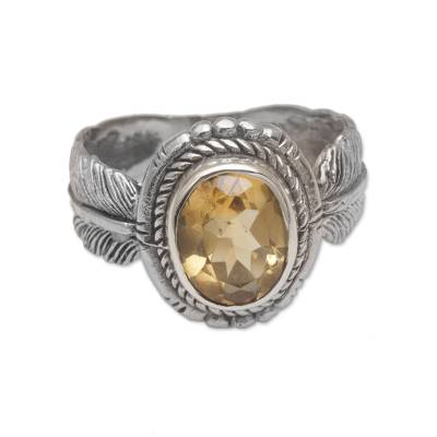 Citrine cocktail ring, 'Band of Feathers' - Handmade 925 Sterling Silver Citrine Feather Cocktail Ring