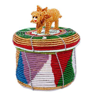 Multicolored Beaded Box with Lion