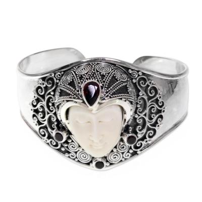 Garnet cuff bracelet, 'Jungle Princess' - Artisan Crafted Carved Bone and Silver Cuff with Garnets