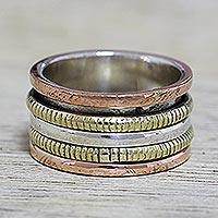 Sterling silver meditation spinner ring, 'Alluring Rotation'