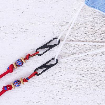 Beaded face mask lanyard, 'Breezy in Red' - Hand Crafted Cotton Face Mask Lanyard from Thailand