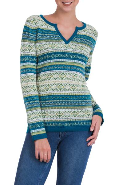 100% alpaca sweater, 'Snowflake Meadow' - Green and Blue on White 100% Alpaca V-Neck Sweater