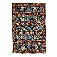 Wool chain stitch rug, 'Blue Tile Palace' (4x6) - India Aari Rug Chain Stitched Wool on Cotton (4 x 6)