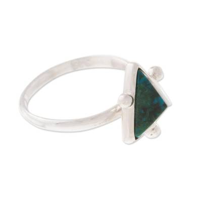 Chrysocolla Pyramid Cocktail Ring from Peru