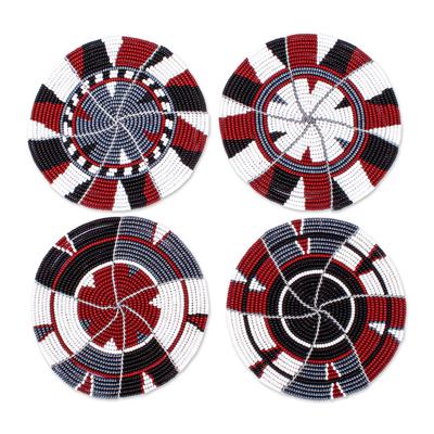 Hand Beaded Coasters from Kenya (Set of 4)