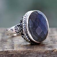 Labradorite cocktail ring, 'Bold Charm' - Hand Crafted Labradorite and Sterling Silver Ring