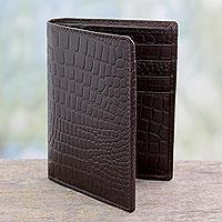 Men's slim leather wallet, 'Efficient in Brown Crocodile'
