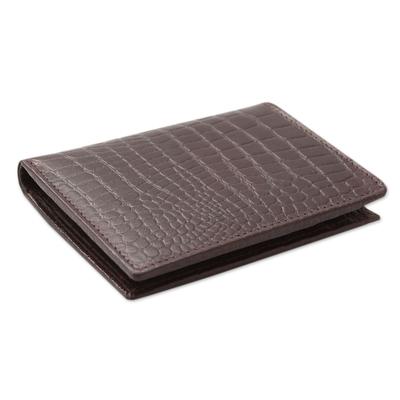 Men's slim leather wallet, 'Efficient in Brown Crocodile' - Men's Embossed Handcrafted Brown Slim Leather Wallet