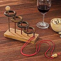 Wood puzzle, 'Release My Mouse' - Handcrafted Rain Tree Wood Game from Thailand