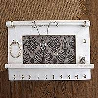 Wood and cotton jewelry display wall panel, 'White Tegalalang Heritage'
