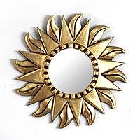 Mohena wood mirror, 'Sunflower' - Hand Made Gilded Wood Metallic Mirror