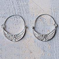 Sterling silver filigree earrings, 'Fiesta'