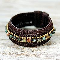 Agate cuff bracelet, 'Thai Supreme'