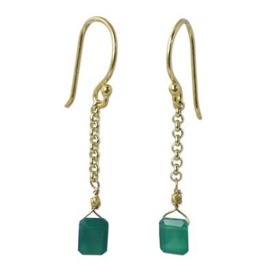 Thai Artisan Crafted 24k Gold Vermeil Green Onyx Earrings