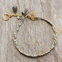 Gold plated multi-gemstone braided bracelet, 'Grey is for Balance'