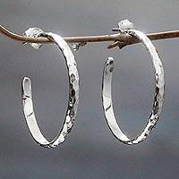 Sterling silver half hoop earrings, 'Mosaic in Sterling' - Hand Crafted Sterling Silver Half Hoop Earrings from Bali