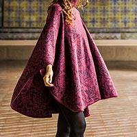 Alpaca blend reversible poncho, 'Sublime Violet' - Alpaca Wool Blend Patterned Poncho from Peru