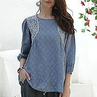 Cotton top, 'Delhi Evening' - Embroidered Cotton Top in Cadet Blue from India