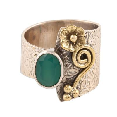 Floral Green Onyx Cocktail Ring Crafted in India