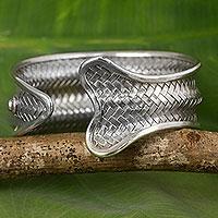 Silver cuff bracelet, 'The Fish'