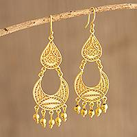 Gold-plated filigree chandelier earrings, 'Crescent Drop'