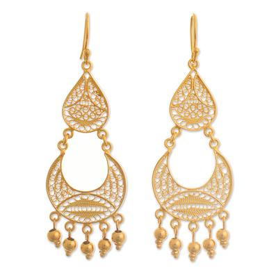Gold-plated filigree chandelier earrings, 'Crescent Drop' - Peruvian Gold-Plated Filigree Chandelier Earrings